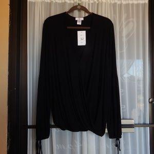 Amelia James Sedona Long Sleeve Black Wrap Blouse